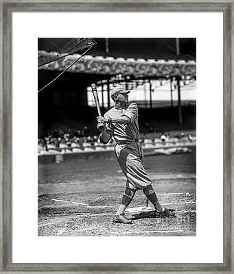 Home Run Babe Ruth Framed Print by Jon Neidert