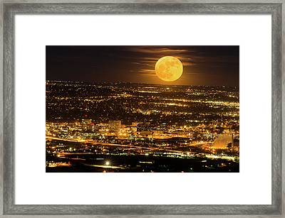 Home Sweet Hometown Bathed In The Glow Of The Super Moon  Framed Print