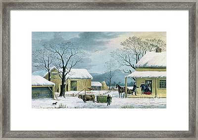Home To Thanksgiving Framed Print by George Durrie