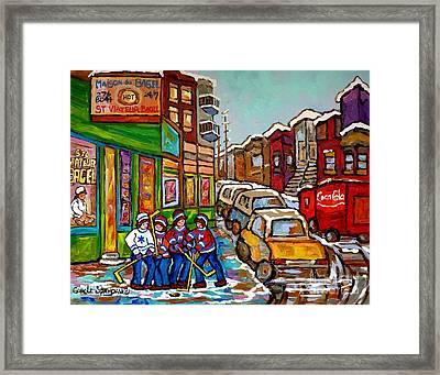 Home Town Painting St Viateur Bagel Street Scene Coca Cola Truck Montreal 375 Carole Spandau Art     Framed Print by Carole Spandau