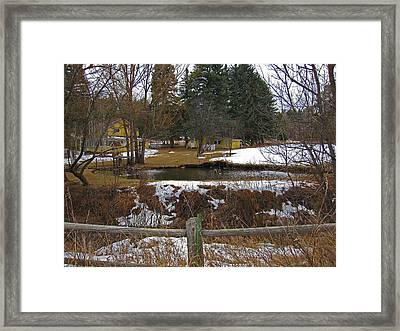 Framed Print featuring the photograph Home With Pond by Tammy Sutherland