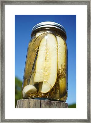 Homegrown Pickles On A Post Framed Print