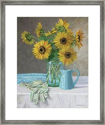 Homegrown - Sunflowers In A Mason Jar With Gardening Gloves And Blue Cream Pitcher Framed Print