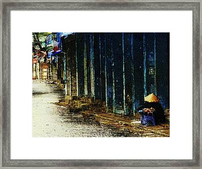 Framed Print featuring the digital art Homeless In Hanoi by Cameron Wood