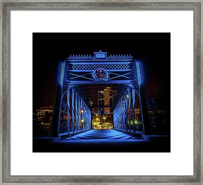Homeless Winter Night On Wells Street Bridge - Fort Wayne Indiana Framed Print