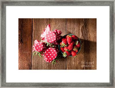 Homemade Strawberry Jam With Fresh Strawberries Framed Print