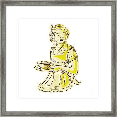 Homemaker Serving Bowl Of Food Vintage Etching Framed Print by Aloysius Patrimonio