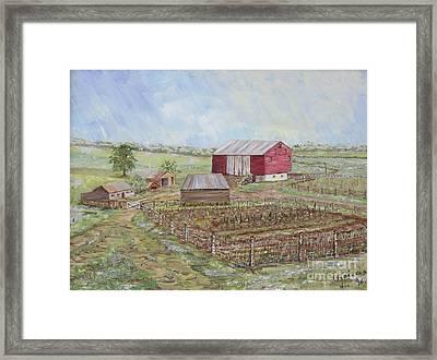 Homeplace - The Barn And Vegetable Garden Framed Print