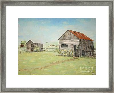 Homeplace - The Smokehouse And Woodhouse Framed Print by Judith Espinoza