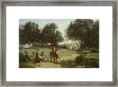 Homer And The Shepherds In A Landscape Framed Print by Jean Baptiste Camille Corot