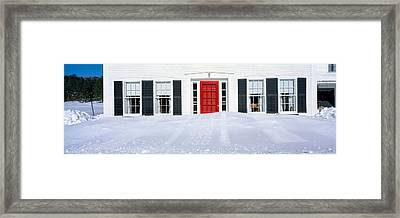 Homes In Winter Snow, Woodstock, Vermont Framed Print by Panoramic Images