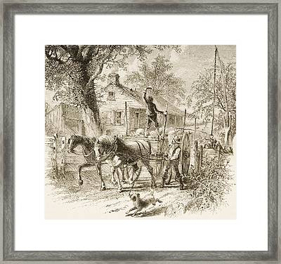 Homestead In Kansas In 1870s. From Framed Print
