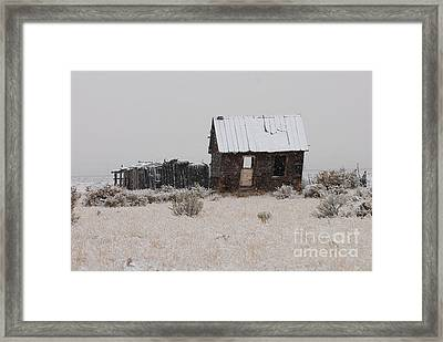 Homestead In Winter - Circa 1856 Framed Print by Dennis Hammer