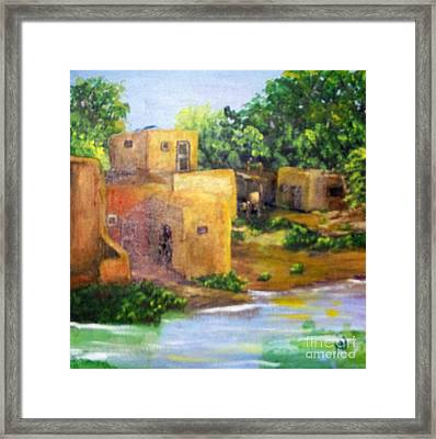 Framed Print featuring the painting Hometown by Saundra Johnson