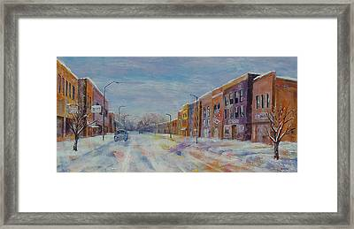 Framed Print featuring the painting Hometown Winter by Susan DeLain