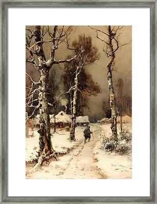 Homeward Through The Winter Forest Framed Print