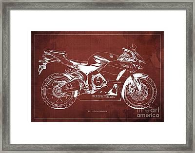 Honda Cbr600rr 2013 Blueprint, Red Vintage Background Framed Print by Pablo Franchi