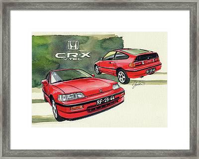 Honda Cr-x Vtec Framed Print by Yoshiharu Miyakawa