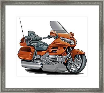 Honda Goldwing Orange Bike Framed Print