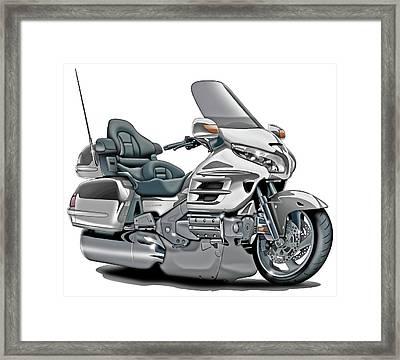 Honda Goldwing White Bike Framed Print