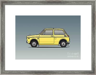 Honda N360 Yellow Kei Car Framed Print by Monkey Crisis On Mars