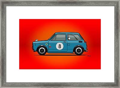 Honda N600 Blue Kei Race Car Framed Print