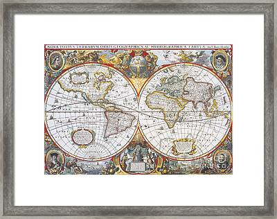 Hondius World Map, 1630 Framed Print by Photo Researchers