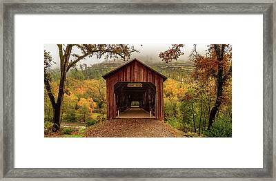 Framed Print featuring the photograph Honey Run Covered Bridge In Autumn by James Eddy