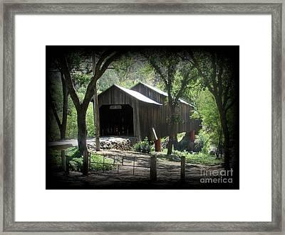 Honey Run Covered Bridge In Chico, California Framed Print by Joy Patzner