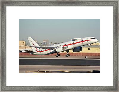 Honeywell Boeing 757-225 N757hw Phoenix Sky Harbor January 14, 2016 Framed Print by Brian Lockett