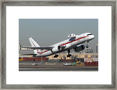 Honeywell Boeing 757 Engine Testbed At Phoenix Sky Harbor On November 11 2010 Framed Print by Brian Lockett