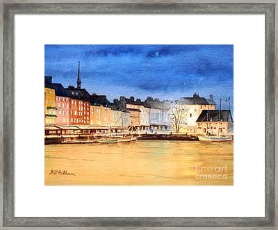 Honfleur  Evening Lights Framed Print by Bill Holkham