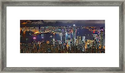 Hong Kong At Dusk Framed Print by Jeff S PhotoArt