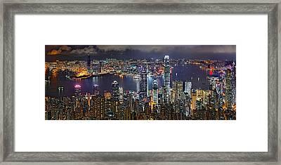 Hong Kong At Dusk Framed Print by Jeff S PhotoArt