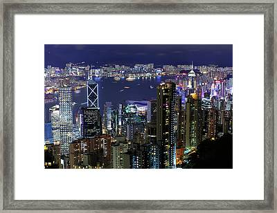 Hong Kong At Night Framed Print by Leung Cho Pan