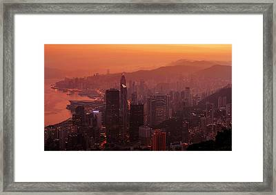 Framed Print featuring the photograph Hong Kong City View From Victoria Peak by Pradeep Raja Prints