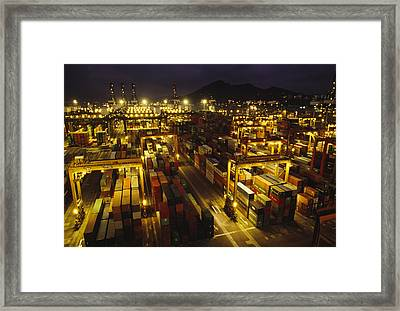 Hong Kong Container Terminal, One Framed Print by Justin Guariglia