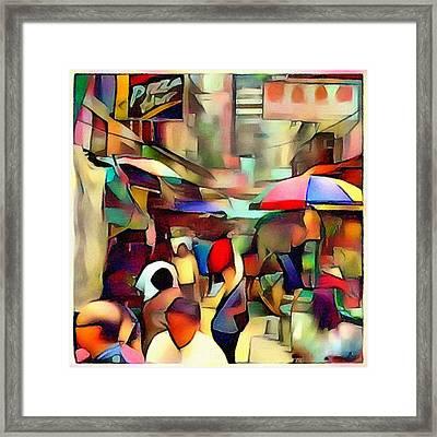 Hong Kong Market Street Cubism Framed Print