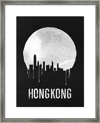 Hong Kong Skyline Black Framed Print by Naxart Studio