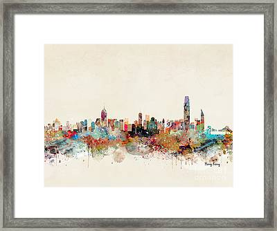 Framed Print featuring the painting Hong Kong Skyline by Bri B