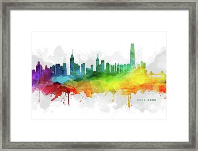 Hong Kong Skyline Mmr-chhk05 Framed Print by Aged Pixel