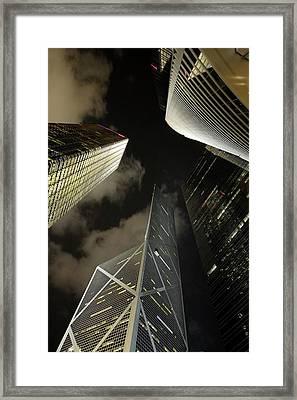 Hong Kong Skyscrapers At Night Framed Print by Sami Sarkis
