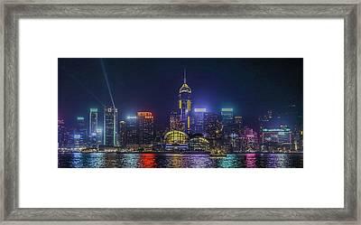 Hongkong At Night Framed Print by Hyuntae Kim