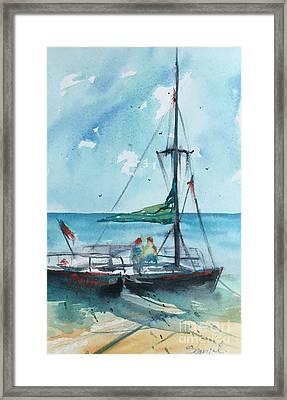 Honolulu Catamaran Framed Print by Carolyn Zbavitel