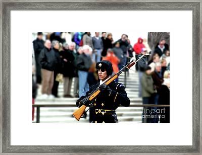 Honor Guard At Arlington Cemetery Framed Print by April Sims