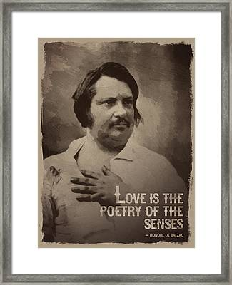 Honore De Balzac Quote Framed Print by Afterdarkness
