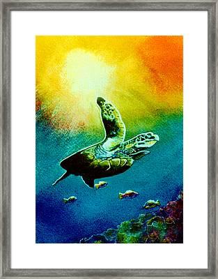 Honu Hawaiian Sea Turtle #154  Framed Print by Donald k Hall