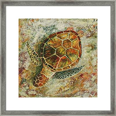 Framed Print featuring the painting Honu On The Beach by Darice Machel McGuire