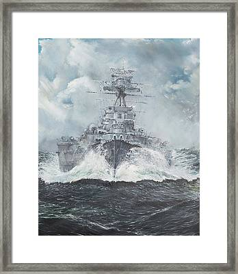 Hood Heads For Bismarck Framed Print