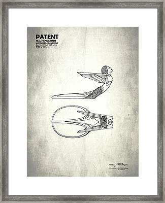 Hood Ornament Patent 1934 Framed Print by Mark Rogan